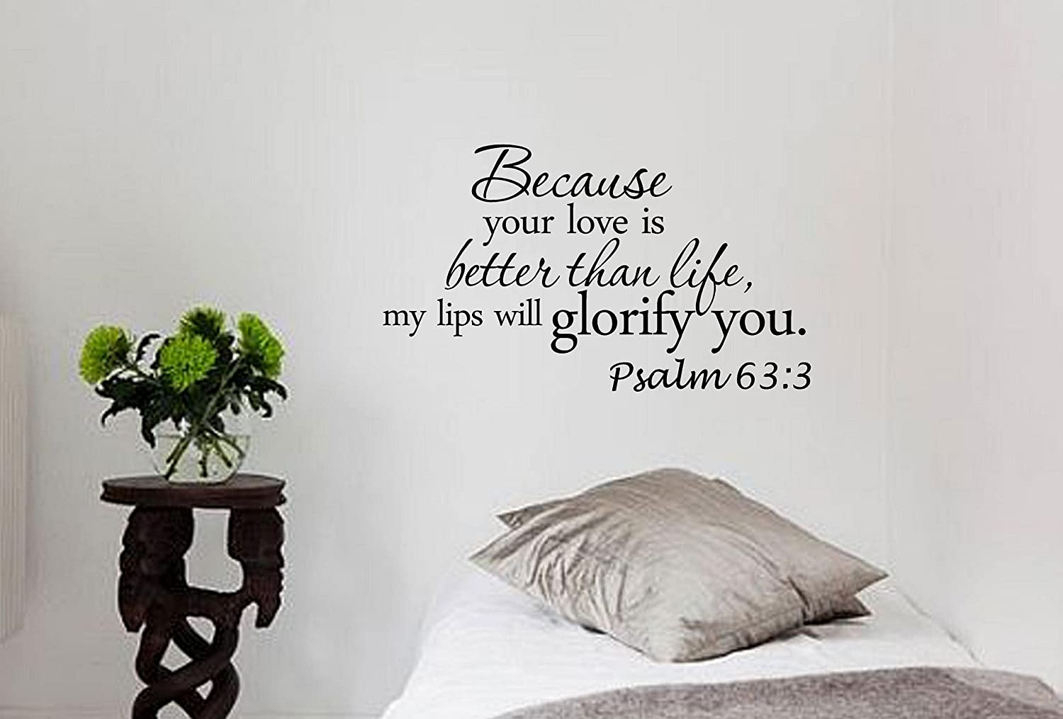 Because Your Love Is Better Than Life, My Lips Will Glorify You. Psalm 63:3 Bible Verse Inches Symbol Matte Black Vinyl Silhouette Keypad Track Pad Decal Window Wall Quotes Sayings Art Vinyl Decal