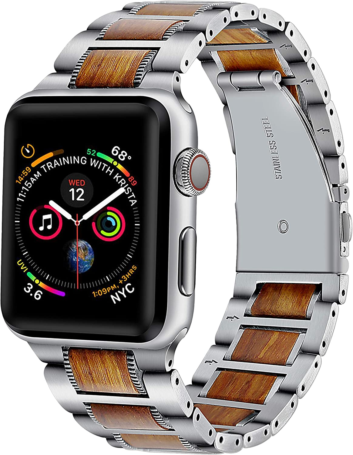 Compatible with Apple Watch Band 42mm 44mm,DMMG Wood Metal Natural Genuine Purple Sandalwood with Stainless Steel Metal Clasp Replacement iwatch Band Compatible Apple Watch Series6 5 4 3 2 1 SE(Silver)