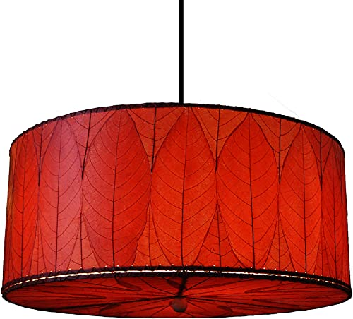 Eangee Home Design Drum Pendant Lamp Large in Shade Made from Real Cocoa Leaves Red