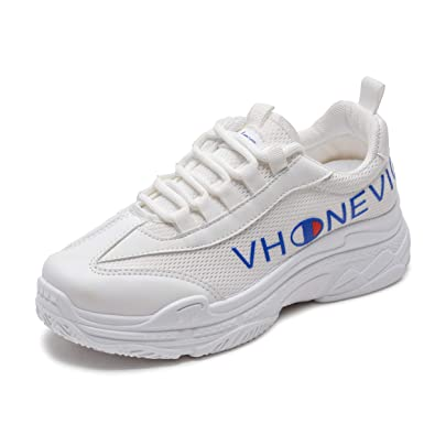 Vansney Femme Chunky Daddy Sneakers Basket Mode Retro Fitness Cyclisme Sport Running Chaussures Pom Pom Girls Léger Confort Casual Antidérapant
