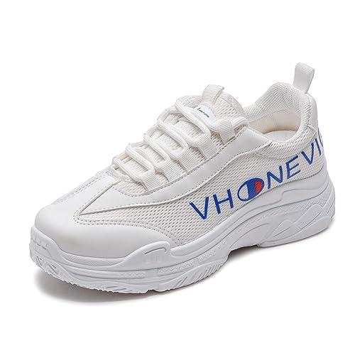 Vansney Moda Mujer Chunky Sneakers Mocasines Confort Señoras Mesh Vamp de Trabajo Cordones Planos Entrenadores Deportes