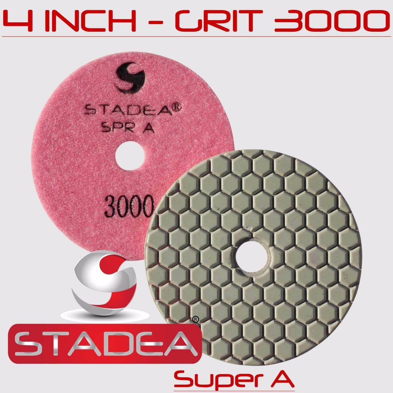 STADEA 4'' Dry Diamond Polishing Pads for granite Marble Concrete Stone Granite Tile Polishing Kit - 5 Pcs Pads, 1 Rubber Backer (5/8'' 11) Set by STADEA (Image #9)