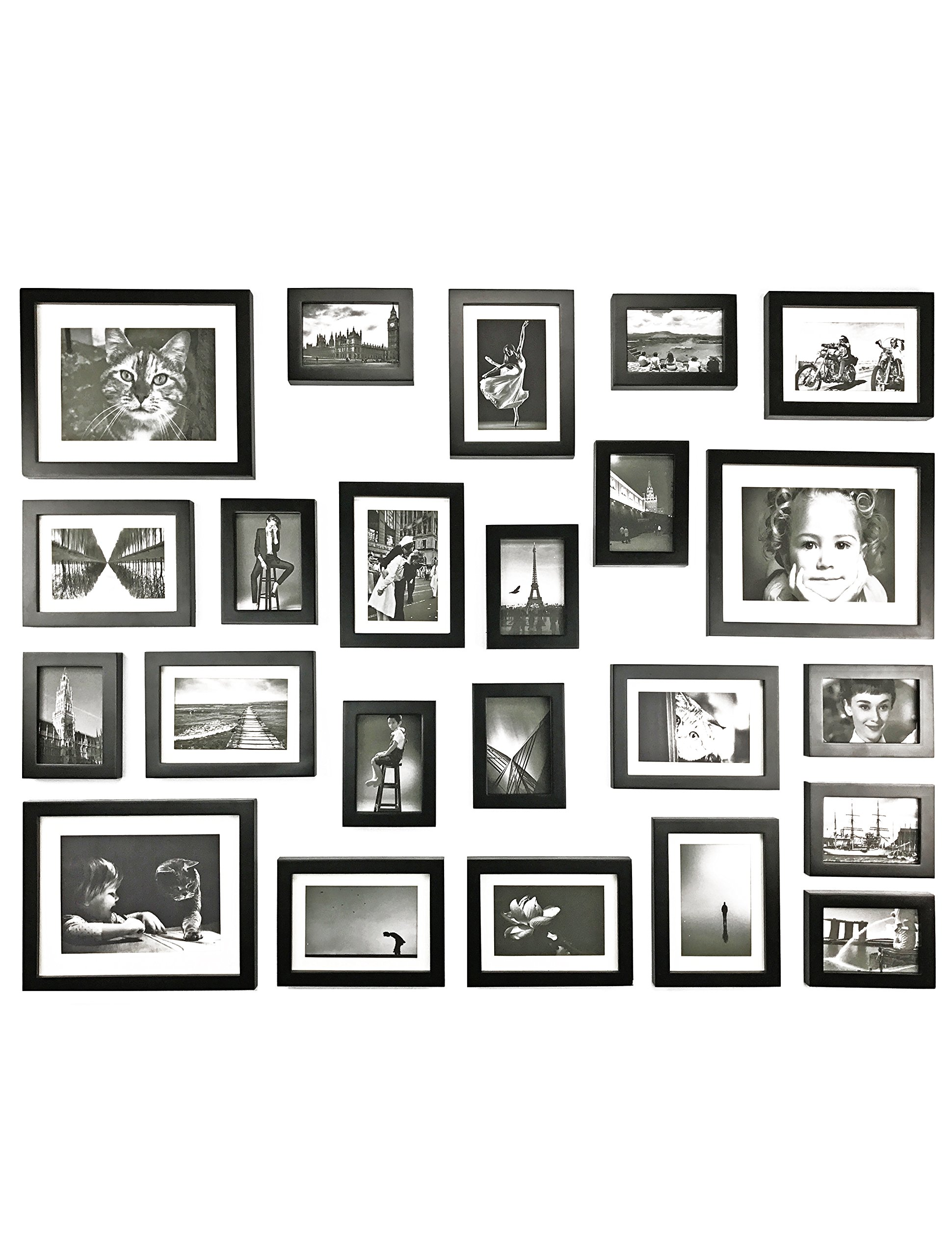 Ray & Chow Black Gallery Wall Picture Frames Set- 23 Frames- Solid Wood- Glass Window-Made to Display 8x10 5x7 3.5x5 pictures without Mat or 6x8 4x6 3.5x5 pictures with Mat - Hanging Hardware Included by Ray & Chow