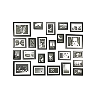 Ray & Chow Black Gallery Wall Picture Frames Set- 23 Frames- Solid Wood- Glass Window-Made to Display 8x10 5x7 3.5x5 pictures without Mat or 5x7 4x6 3.5x5 pictures with Mat - Hanging Hardware Included
