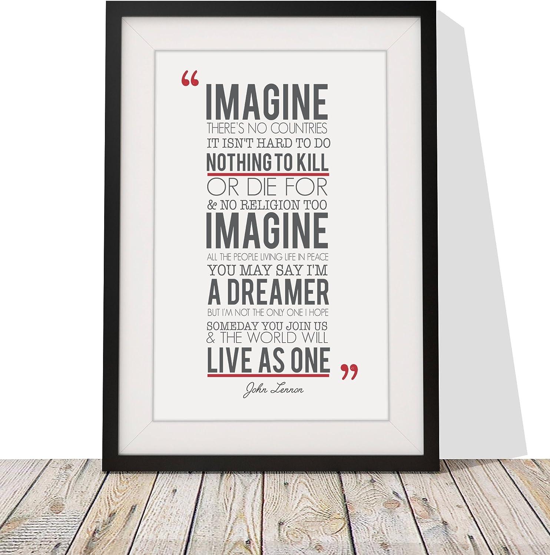 Imagine Music John Lennon Lyrics Motivation Typography Quote 12X16 Framed Print
