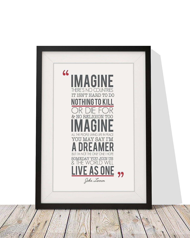 John Lennon Imagine Songtext, gerahmt, A4 Druck glasiert und 12 x 10 ...