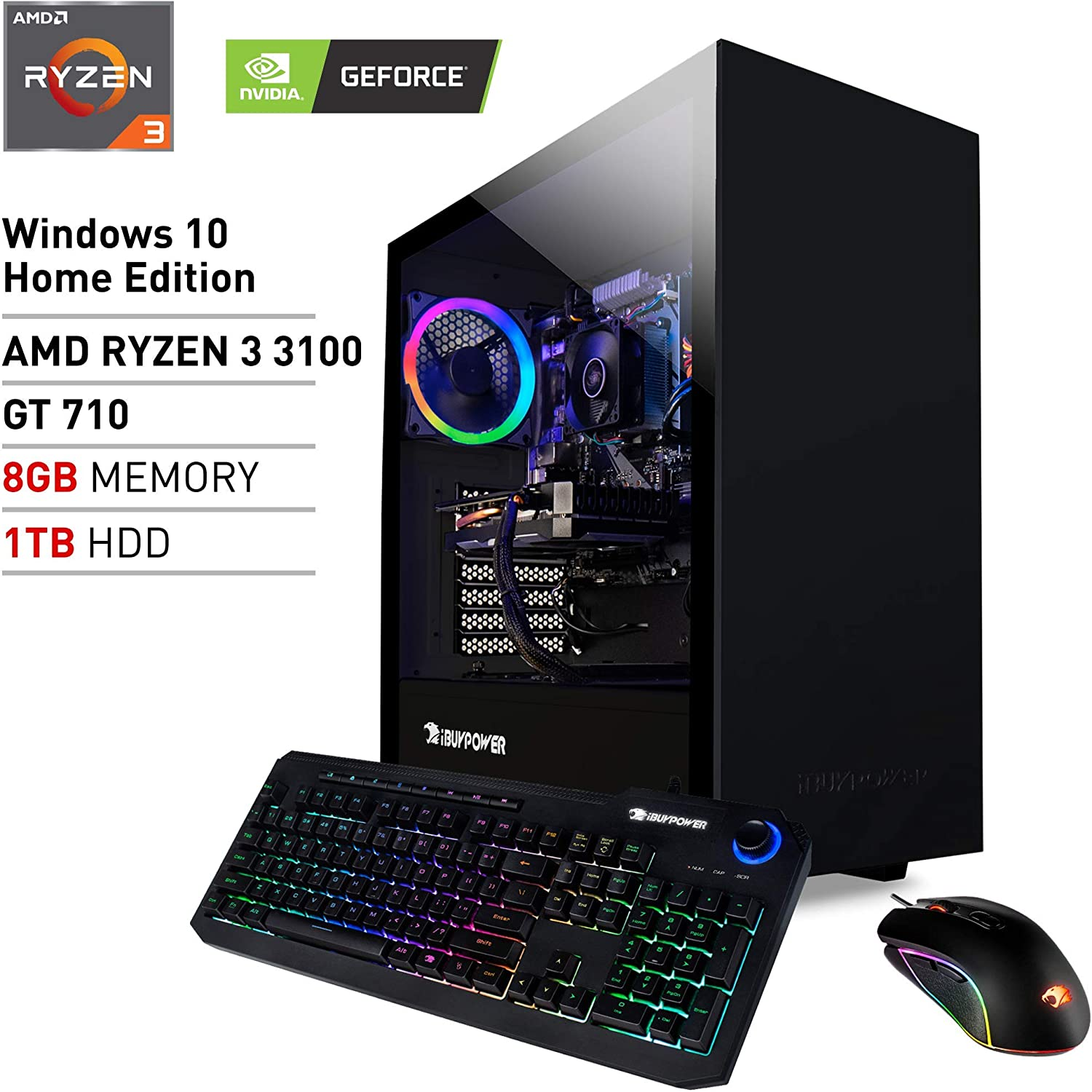 iBUYPOWER Pro Gaming PC Computer Desktop ARCB 108Av2 (AMD Ryzen 3 3100 3.6GHz, NVIDIA GT 710 1GB, 8GB DDR4 RAM, 1TB HDD, Wi-Fi Ready, Windows 10 Home)