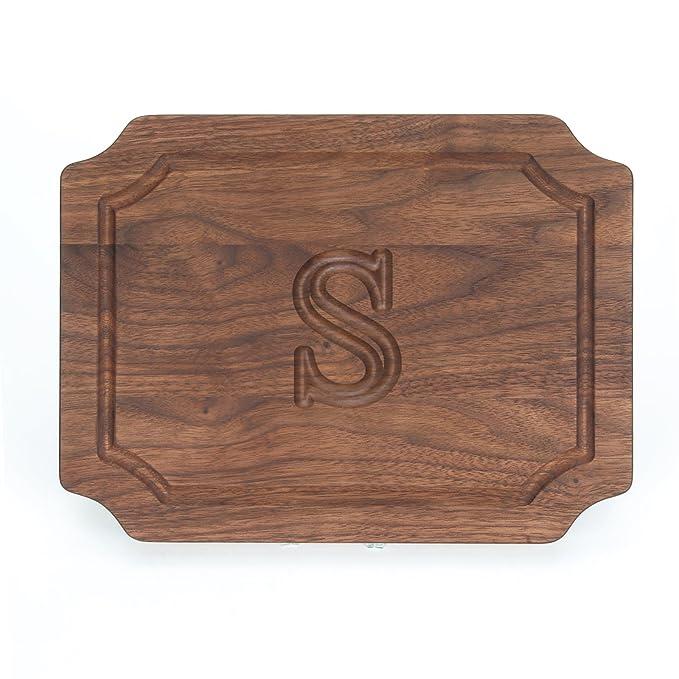 "Big Wood Boards W300 S Cutting Board, Monogrammed Wedding Gift Cutting Board, Small Cheese Board, Walnut Wood Serving Tray, ""S"" by Big Wood Boards"