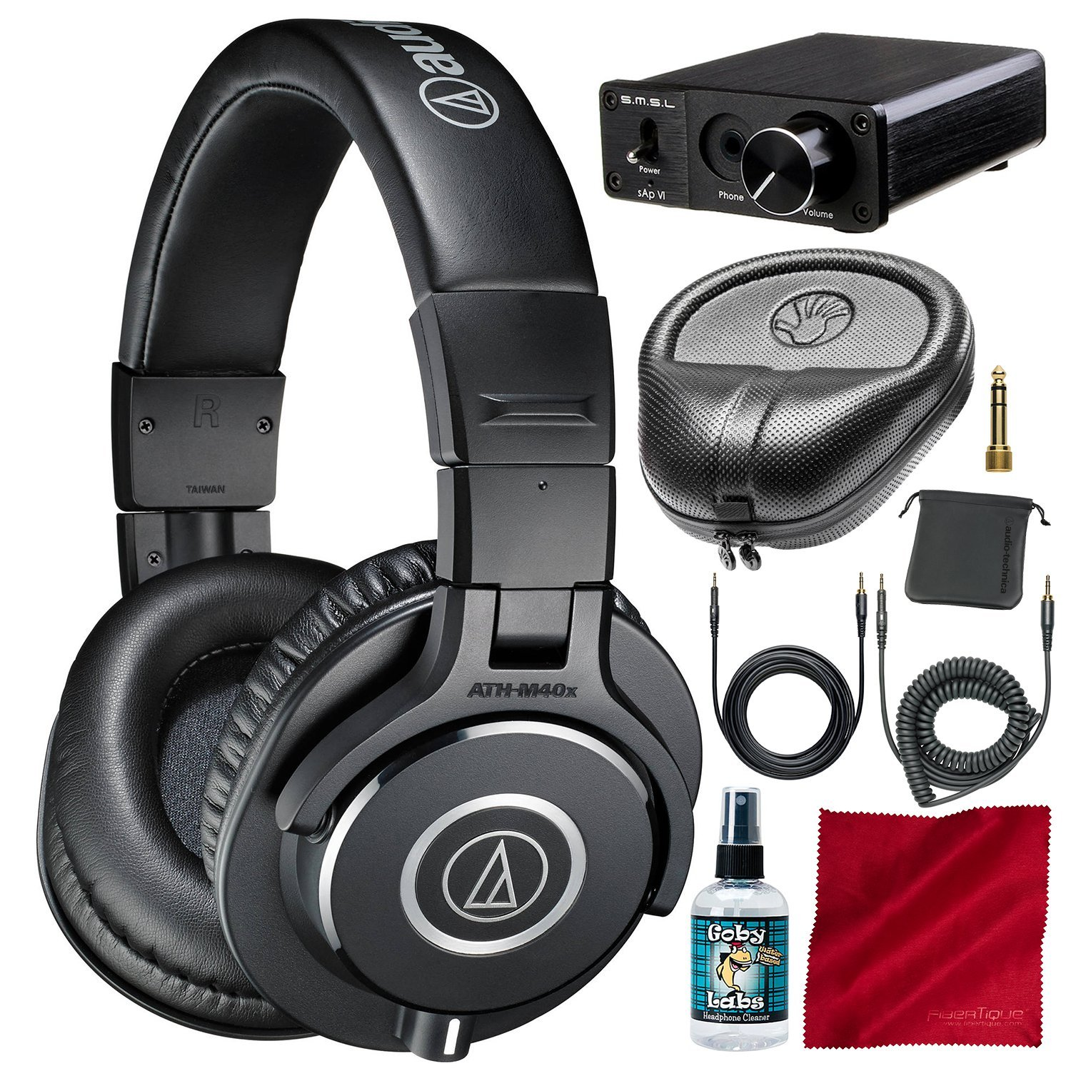 Audio-Technica ATH-M40x Monitor Headphones and Deluxe Accessory Bundle with Big Power Amplifier + Protective Case + More