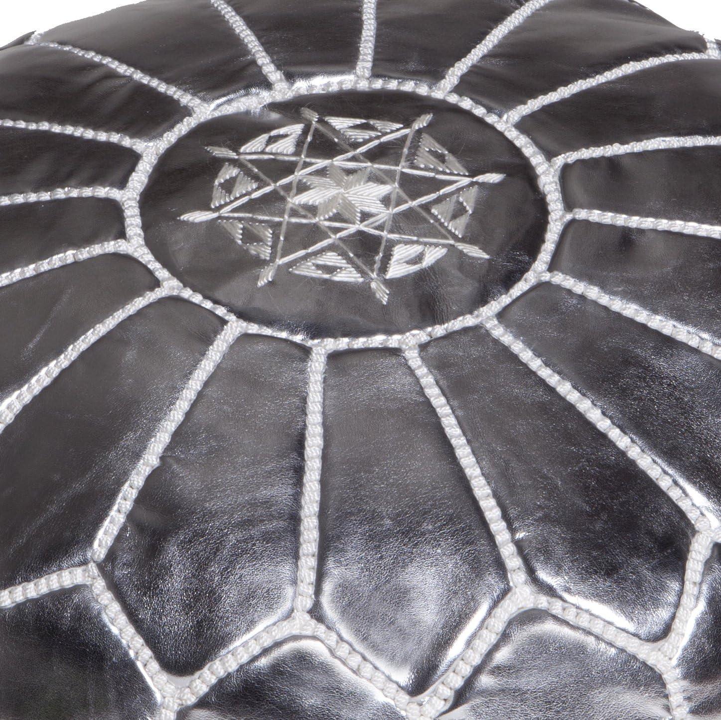 Moroccan Buzz Premium Faux Leather Pouf Ottoman Cover, Silver UNSTUFFED Pouf