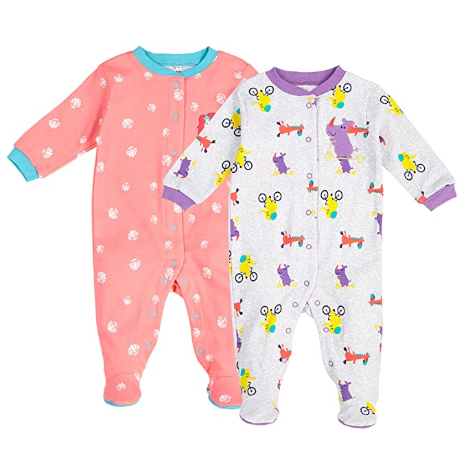 c6a2fa479d63 Amazon.com  Pekkle Baby 2-Pack Footed Pajamas