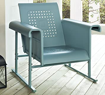 Crosley Furniture Veranda Metal Outdoor Single Glider Chair   Caribbean Blue