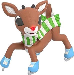 Hallmark Keepsake Christmas Ornament 2020, Rudolph the Red-Nosed Reindeer Slippery Skating, Light-Up