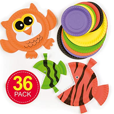 Baker Ross Ltd Paper Plates in Multiple Colors | Value Pack 2 Sizes: 6.3 inches (16cm) & 9.4 inches (24cm) | 5 Colors for Kids to use in Craft Projects (Pack of 36): Toys & Games
