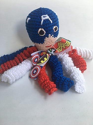 Pulpo Capitán América de crochet para recien nacidos, pulpo ...