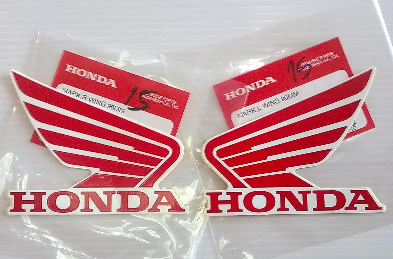 Genuine Original Honda Wings Fuel Tank Gas Tank Stickers Decals 2 X 90MM Red Honda 86201-K33-D00ZE 86202-K33-DOOZE White Left /& Right