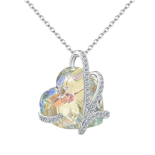 551e628f09c8 TENYE Mujer Plata de Ley 925 CZ Corazón de Mar Colgante Collar Hecho con Aurora  Boreal