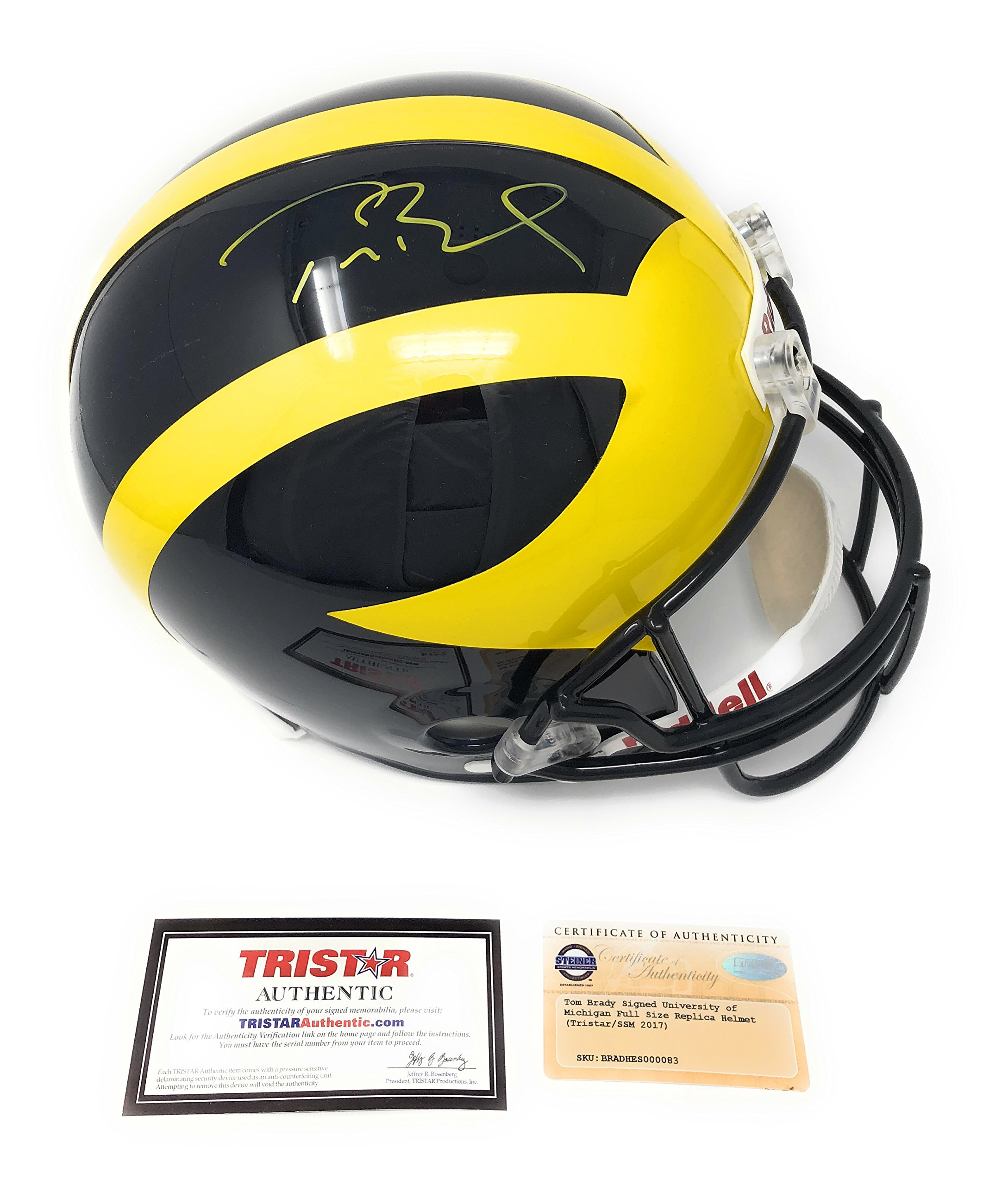 Tom Brady Michigan Wolverines Signed Autograph Full Size Helmet Steiner Sports & Tristar Authentic Certified