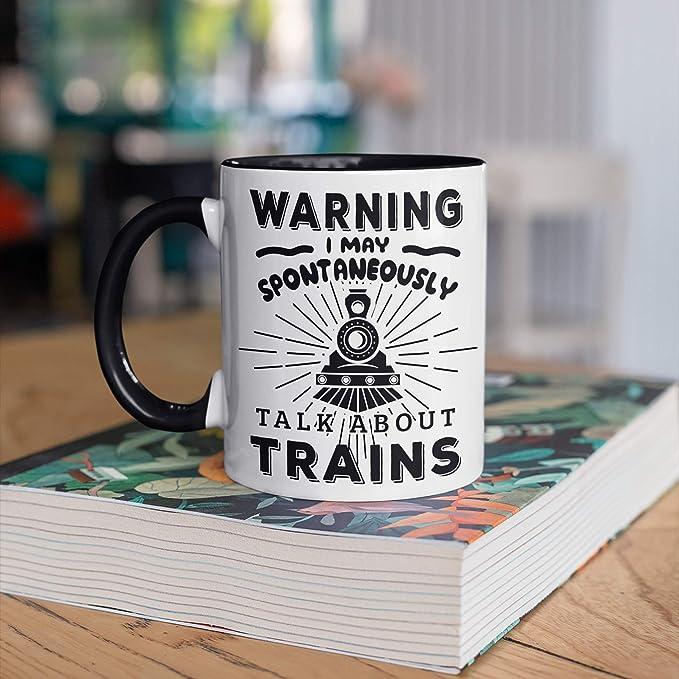 Amazon.com | Warning May Talk about Trains Mug, Funny Train Railroad CO-Ffee Mugs, Trainwatching Gift, Gifts for Train Conductor, Camp Mug, Tumbler coffee mug: Coffee Cups & Mugs
