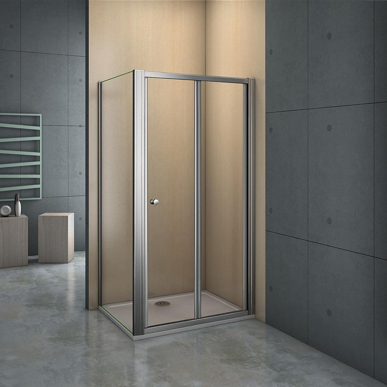 Chrome 700mm Bifold Shower Door Shower Enclosure Toughened Glass Door Panel Perfect
