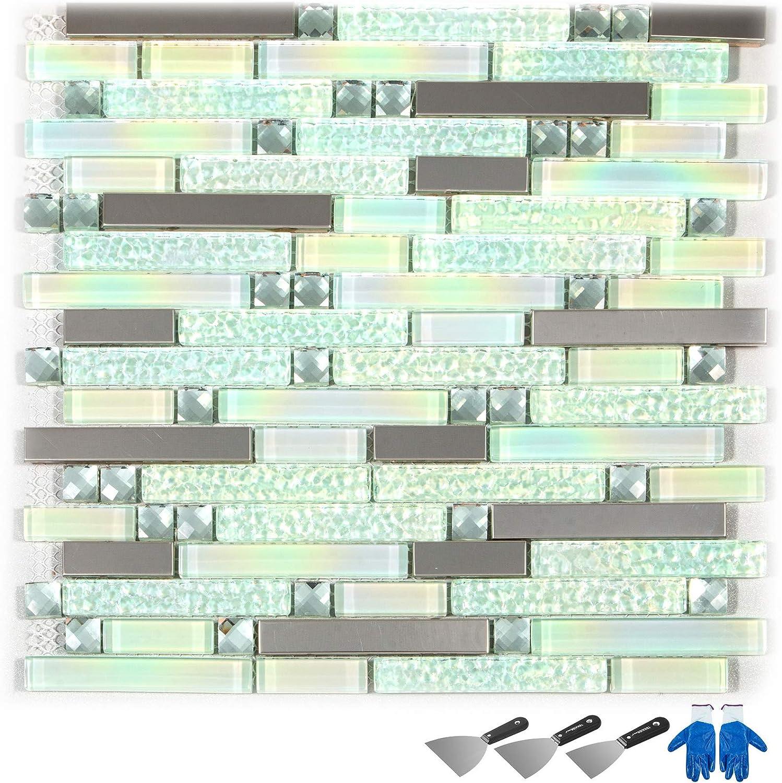 - Happybuy Glass Backsplash Tiles For Kitchen 12 Sheets Glass Mosaic