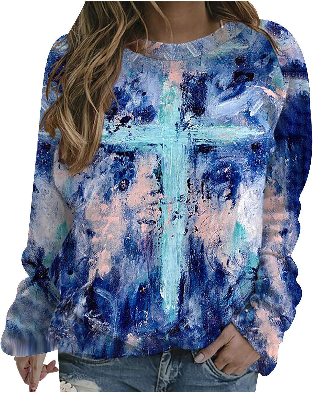 Hotkey Womens Halloween Holiday Sweatshirts Long Sleeve O-Neck Tops Animal Print Pullover Tops Casual Loose Blouse Shirt
