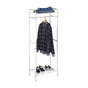 Relaxdays Kleiderständer mit Ablage SANDRA, Metall Garderobenständer mit  Kleiderstange HBT: 166 x 60,5 x 38 cm, weißgrau