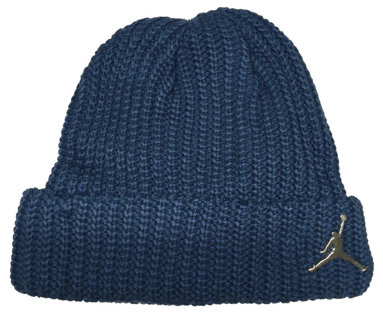 b27a5d5cc6e8b9 Amazon.com: Nike Jordan Jumpman Cuffed Boys' Knit HAT Metal Logo ONE ...