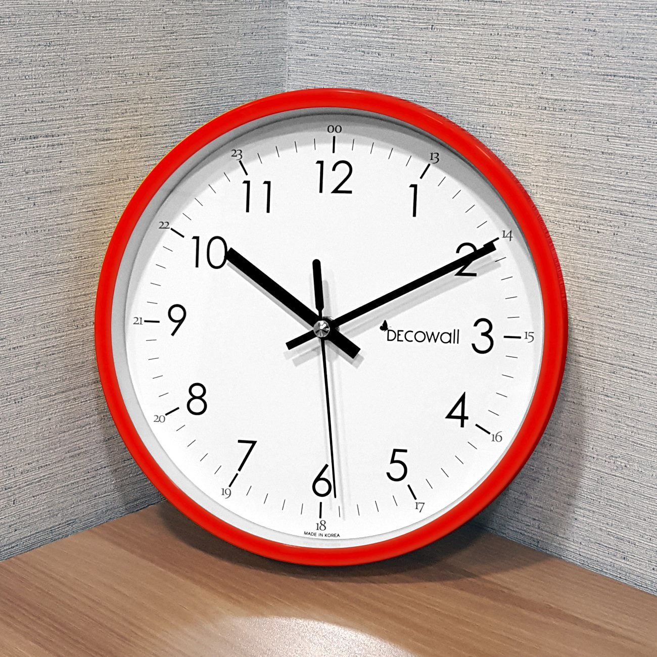 DECOWALL DSH-M22R 8.8 Non-Ticking Silent Modern Pastel Wall Clock DIY for Living Room Bedrooms Office Kitchens Red, 22.5cm