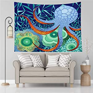 Vikes Octopus Tapestry,Abstract Octopus Garden,Tapestry Wall Hanging Art for Living Room Bedroom Home Decor,90x70 in