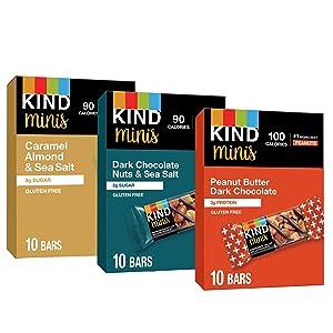 KIND Bar Minis, Variety Pack, Dark Chocolate Nuts, Caramel Almond Sea Salt, Peanut Butter Dark Chocolate, Gluten Free, Low Sugar, 0.7 oz, 30 Count