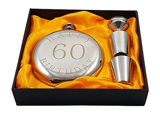 Happy 60th cumpleaños matraz regalo conjunto: Amazon.es: Hogar