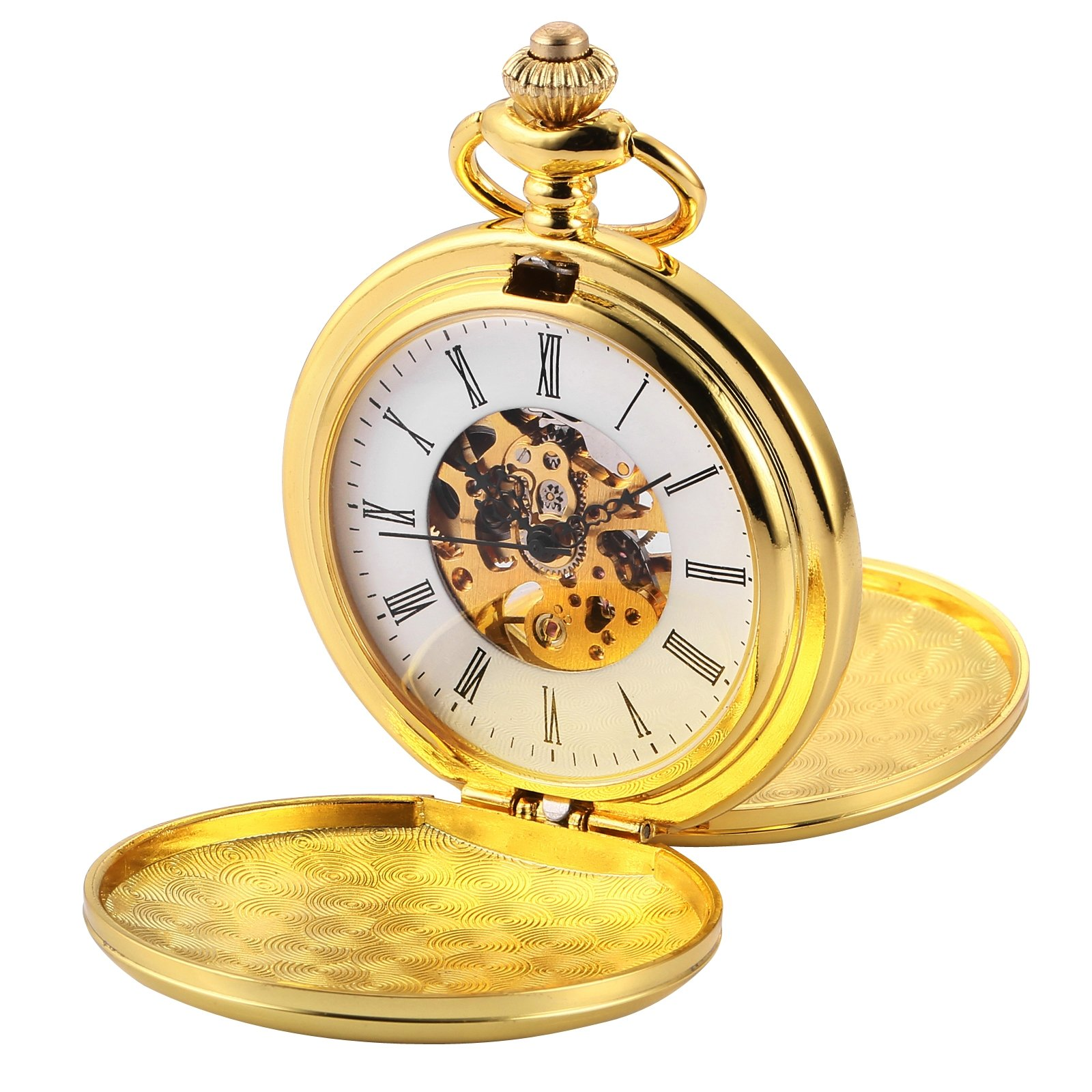 AMPM24 Double Hunter Golden Case Mechanical Pocket Watch WPK226