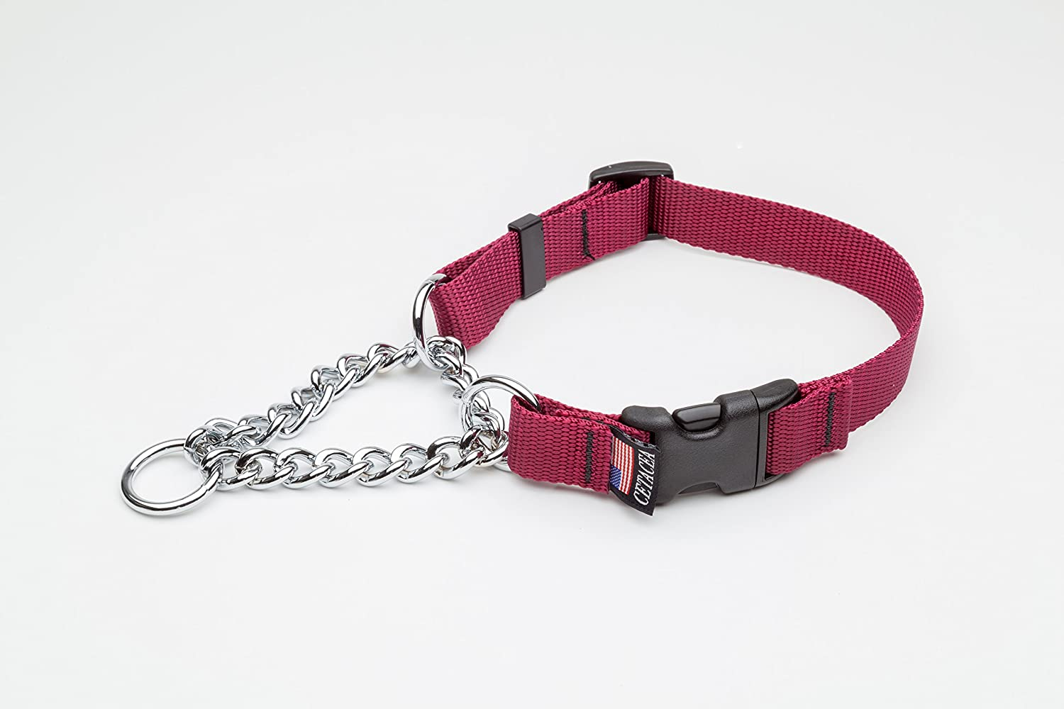 Chain Martingale w  Quick Release Medium Burgandy Dog Pet Collar