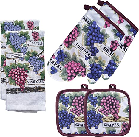 Amazon Com Fstiko Grape Kitchen Linen Set Includes 2 Oven Mitt Pot Holders Towels Dishcloths Decor For Cooking Baking Barbecue Of 6 Piece Home