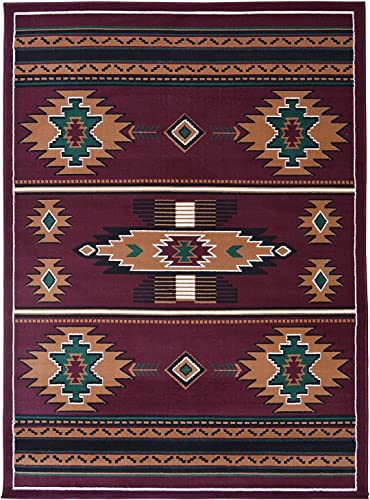 Rugs 4 Less Collection Southwest Native American Indian Area Rug Design R4L SW3 in Burgundy Maroon 5 x7