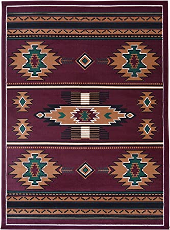 Amazon Com Rugs 4 Less Collection Southwest Native American Indian Area Rug Design In Beige Berber Sw3 5 X7 5ft X 7ft Burgundy Furniture Decor