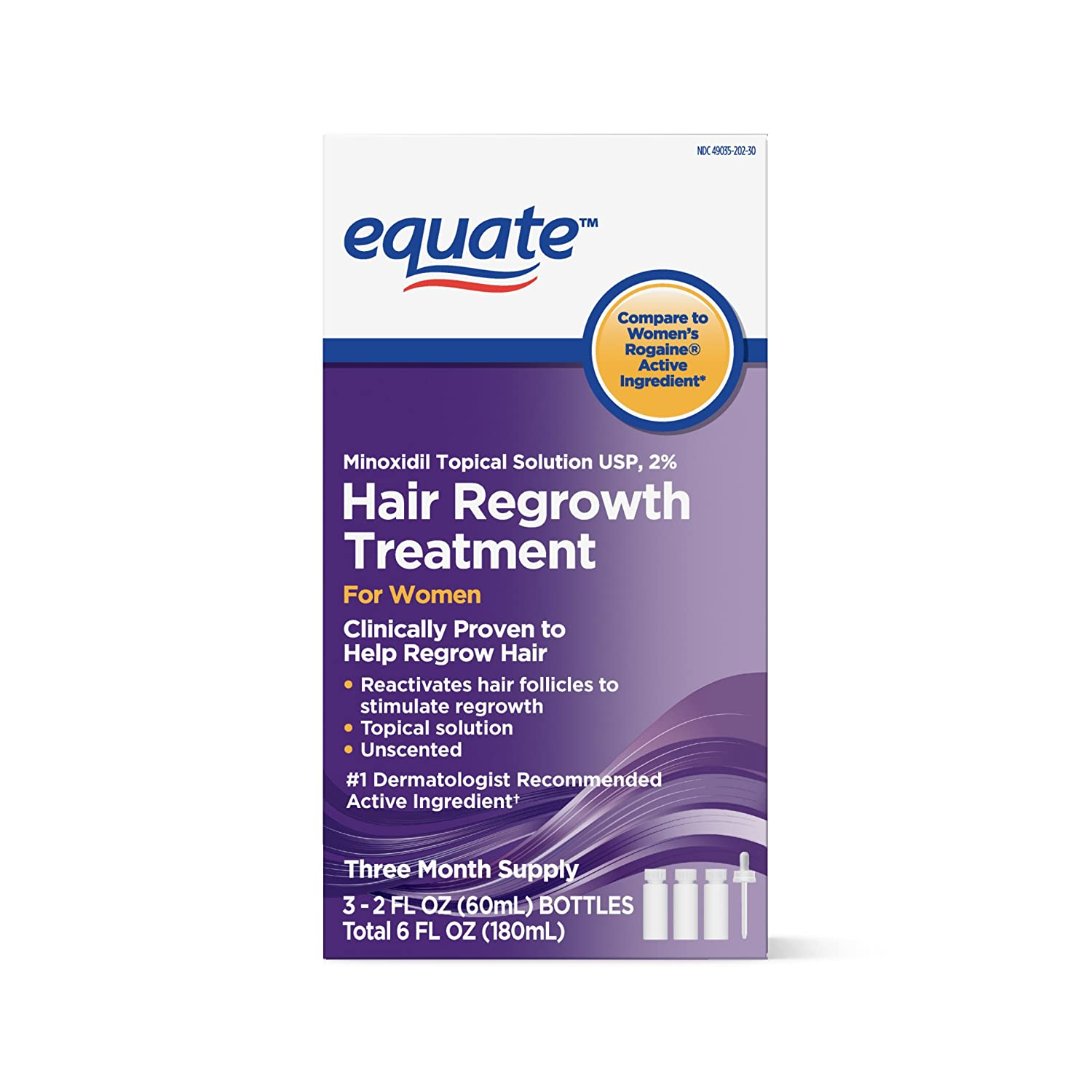 Equate Hair Regrowth Treatment for Women 3 Month Supply USA, 2 Ounces : Beauty