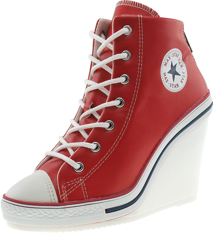 Maxstar Women's 777 Back Zipper PU High Wedge Heel Sneakers B00CMYYOUY 6 B(M) US|Red