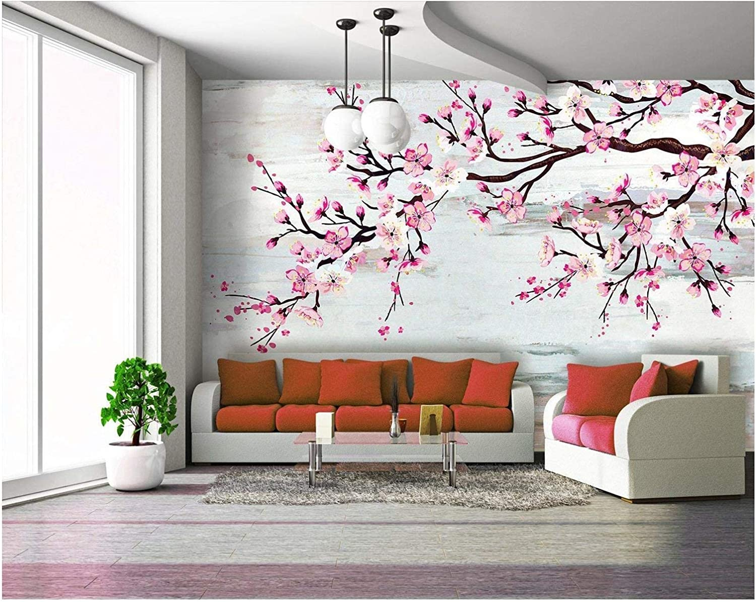 Large Wall Mural Watercolor Style Ink Painting Pink Cherry Blossom