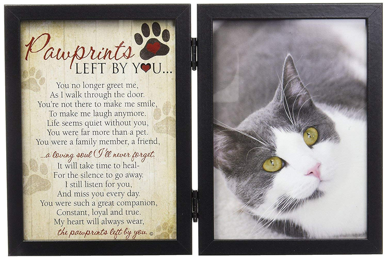 Pawprints Left By You Memorial 5x7 Frame for Cat with Pet Tag by Pawprints Left by You Memorial Gifts