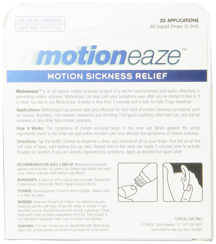 MotionEaze Sickness Relief, All-Natural Topical Liquid, 2.5 ml: Amazon.es: Salud y cuidado personal