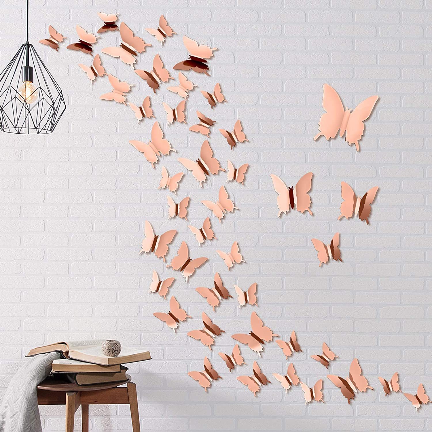 Aneco 60 Pieces 3D Mirror Butterfly Wall Stickers DIY Mirror Butterfly Combination Art Mirror Butterfly Wall Stickers for Crafts Home Decoration