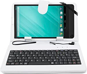 DURAGADGET White Faux Leather Case w/QWERTY Keyboard & Micro USB Connection - Compatible with Dell Venue 8 7000 | Venue 8 3000 Series & The Venue Pro 8