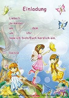 12 Einladungskarten Und Umschläge * FEEN U0026 ELFEN * In DIN A5 Für Den  Kindergeburtstag /