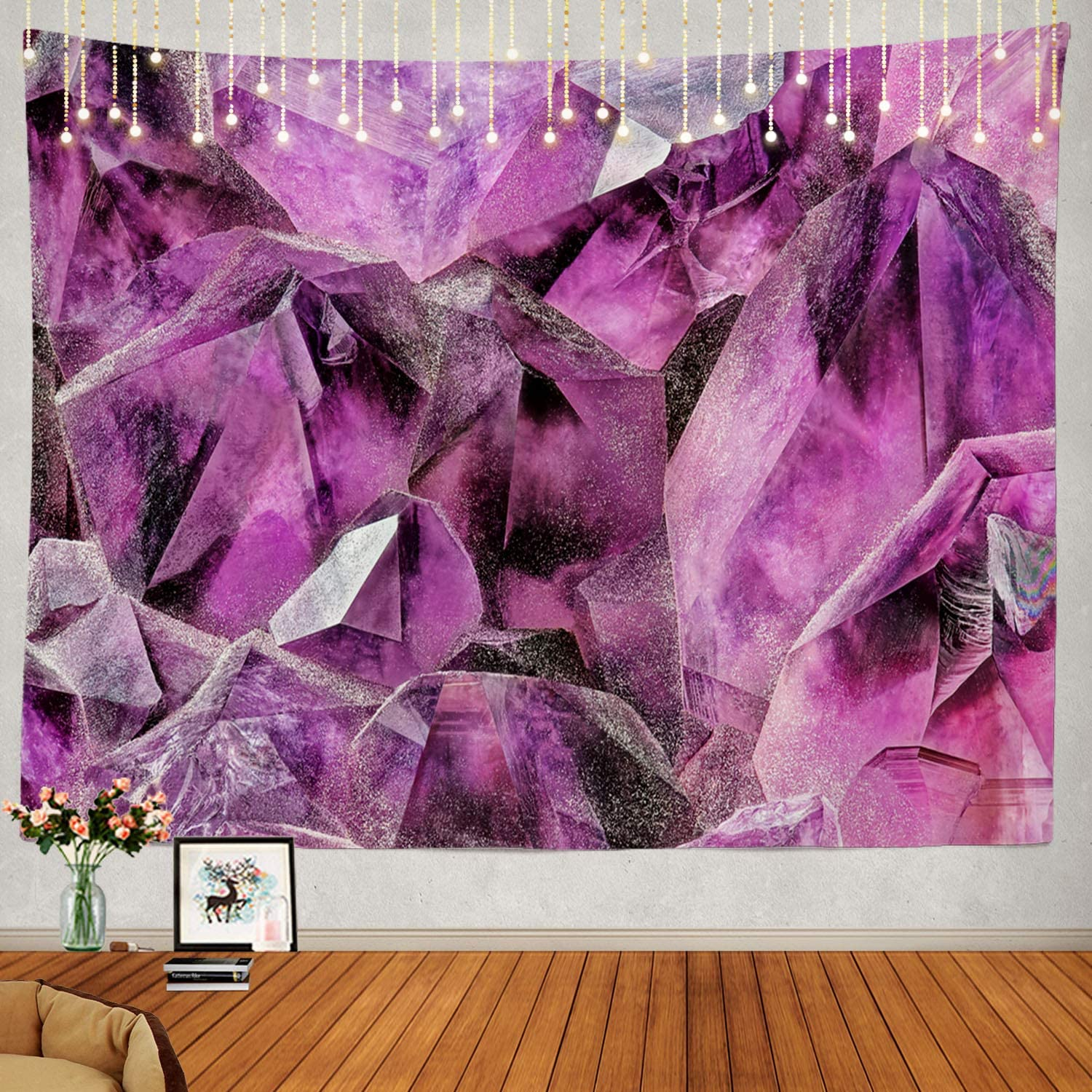 Shrahala Stone Wall Tapestry, Purple Crystal Amethyst Pink Gemstone Stone Gem Nature Wall Hanging Large Tapestry Psychedelic Tapestry Decorations Bedroom Living Room Dorm(51.2 x 59.1 Inches, Purple)
