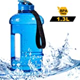 2.2L Half Gallon and 1.3L 550ml Big Capacity Large Water Bottle Water Jug Container BPA Free Plastic with Carrying Loop Leakproof Water Bottle for Fitness Camping Training Bicycle Gym Outdoor Sports