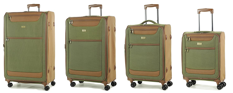 Members Boston Léger Imitation Daim Quatre Roues Tournantes Baggage - Vert Olive, Medium - 67 x 42 x 26cm - 3.3 kg