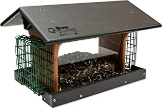 product image for DutchCrafters Amish Deluxe Recycled Plastic Bird Feeder (Black & Cedar, Mount Style - Post Mount)