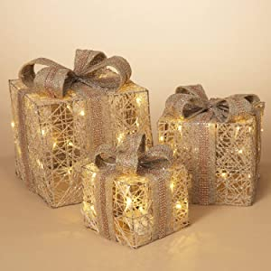 Set of 3 Light-Up Elegant Beige Boxes with Sequin Ribbon Decoration – Indoor Outdoor Lighted Holiday Yard Decor
